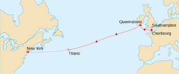 The route map of Titanic